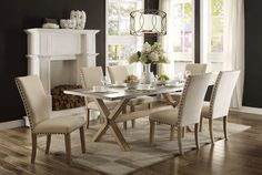 """40"""" x 84"""" Luella Cool Weathered Oak Zinc Top Dining Table"""