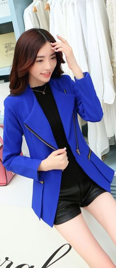 2014, Elegant, Korean, Zip, Blazer, YRBfashion, korean jacket, blue jacket