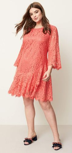 Plus Size Bell Sleeve Lace Dress