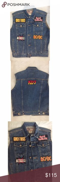 "Vintage denim ""Guns' N Roses"" logo Patched vest Awesome jean vest featuring a sewn-on Iron Maiden, Guns N' Roses, AC/DC & Metallica patch. Look like the cool kid from every movie from the 80s/90s ever. Jackets & Coats Jean Jackets"