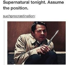 Supernatural tonight. Assume the position - finally found it!!  pic is from 8x10 Torn and Frayed when they try to rescue Samandriel from Crowley