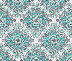 Floral Diamond Doodle in Mint Green, Turquoise and Grey fabric by micklyn on Spoonflower - custom fabric