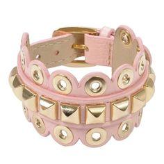 Pulseira regulável de couro cotton pink extramacio - Jorge Bischoff