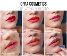 Ofra Liquid Lipsticks Lip Swatch, beautiful nudes, reds and pinks! Coupon code: PINNER 30% off! https://www.ofracosmetics.com/collections/lips/products/long-lasting-liquid-lipstick