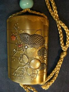 FOUR CASE GOLD LACQUER JAPANESE INRO SIGNED