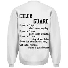 Shop and customize these color guard designs. Put it on t-shirts, hats, coffee mugs, phone cases, and more. Find the perfect color guard gift. Marching Band Problems, Flute Problems, Marching Band Humor, Colour Guard, Color Guard Flags, Color Guard Quotes, Color Guard Shirts, Band Jokes, Band Nerd