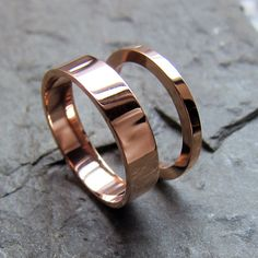 Rose gold wedding rings - 14k recycled rose gold - wedding set 2mm and 4mm wide - personalized - custom made to order. $690.00, via Etsy.