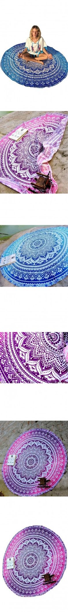 Elephant Indian Tapestry Wall Hanging Peacock Bed sheet Round Tapestry Mandala Perfect gift Picnic/Beach Spread Home Decor 42056 $23.32