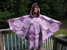 Fleece poncho, womens poncho, tie dye poncho, hooded poncho, hippie poncho, drug rug, poncho for men, mens poncho, purple poncho, poncho by adfabinidaho on Etsy