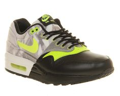 Womens Nike AIR MAX 1 (L) BLACK VOLT Trainers