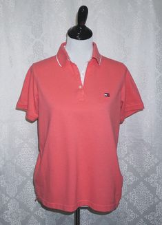 77ea8eb7c83b TOMMY HILFIGER Womens Size Large Coral Short Sleeve POLO SHIRT ~ EUC ~  Vintage    TommyHilfiger  KnitPoloShirt  Casual