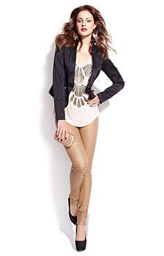 Love this style; golden beige jegging, blazer and design cami. Dynamite