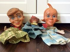 3 Vintage Cloth & Vinyl Hand Puppets Man, Woman and Monkey by Lalecreations on Etsy