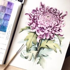 Taaa-daaaa! Finished! Chrysanthemum. Watercolor on satin paper #limkina_art…