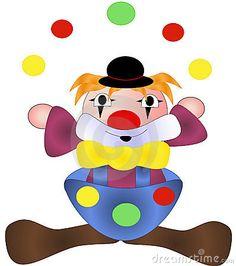 Het eenvoudige clown jongleren met