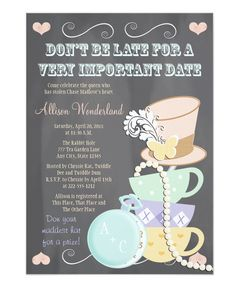 Mad Hatter Bridal Shower Invitations by OccasionInvitations Browse more Mad hatter tea party theme Invitations at Zazzle