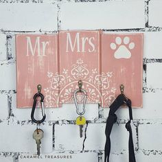 Check out this item in my Etsy shop https://www.etsy.com/listing/552188397/mr-mrs-dog-key-rack-wall-key-hook-lead