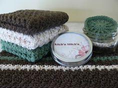crocheted dish towel set