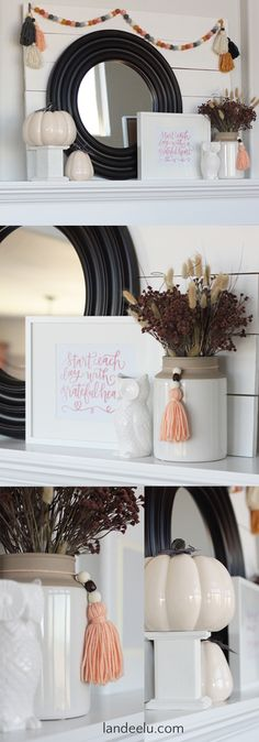 DIY Fall Mantel Decorating Ideas and Inspiration - A pretty decorated fall mantel with a fresh color palette. So pretty!