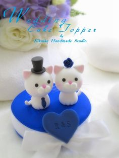 Love Angels Wedding Cake Topper. Cute cat cake topper.