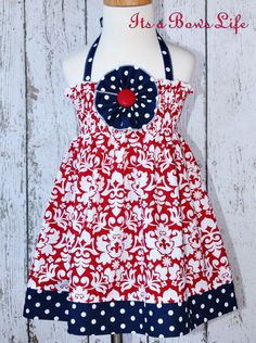 """New """"All American Girl"""" Halter dress comes in sizes 3m - 12m, 2t - 4t, 6-12. $39.50, via Etsy."""