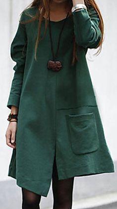 e6facbf3a5b2 A-line forest green fall dress
