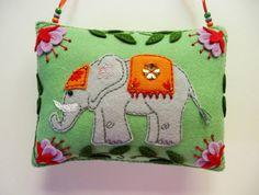 Felt Elephant Ornament / Elephant Decoration / Indian Elephant / Tantric / Asian Decor / Indian Decor / Doorknob Pillow / Doorknob Hanger