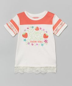 This Ivory 'Home Grown' Lace-Hem Tee - Girls is perfect! #zulilyfinds