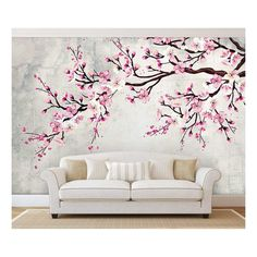 Large Wall Mural - Watercolor Style Ink Painting Pink Cherry Blossom on Vintage Wall Background Cherry Blossom Bedroom, Cherry Blossom Wallpaper, Cherry Blossom Painting, Bedroom Wall Designs, Bedroom Murals, Vinyl Wallpaper, Room Wall Painting, Ink Painting, Simple Wall Paintings