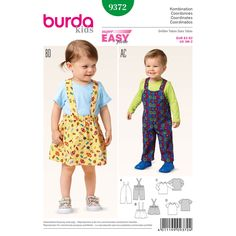 These bibbed pants, pinafore-style skirt and top, are practical and pretty separates. Fun to mix and match, and quick and easy to sew. A Burda Style sewing pattern.