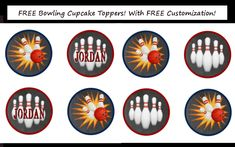 Free Bowling Party Cupcake Toppers! Matches the free printable invitations and gift tags!