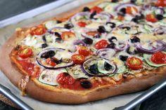 Zucchini, Eggplant, and Kalamata Olive Pizza~ Yummers!