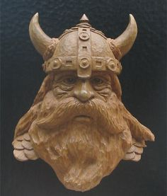 Viking Head Carving Not old but really great ! Wood Carving Designs, Wood Carving Patterns, Wood Carving Art, Wood Art, Wood Carvings, Wood Wood, Viking Head, Viking Art, Wood Sculpture