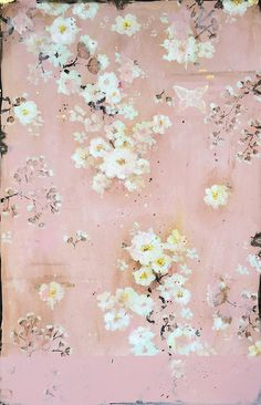 """Kathe Fraga Art, www.kathefraga.com """"Afternoon Sunlight on the Pink Bedroom Wall"""", 36x24 on frescoed birch panel with Japanese gold ink. Kathe's paintings are inspired by the romance of vintage French wallpapers and Chinoiserie with a modern twist."""