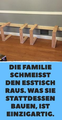 The family throws out the dining table. Was sie stattdessen bauen, ist einzigar… The family throws out the dining table. What they build instead is unique. Kitchen Buffet, Kitchen Chairs, Diy Table, Dining Table, Ikea I, Wooden Staircases, Diy Kitchen Storage, Upcycled Home Decor, Diy Décoration