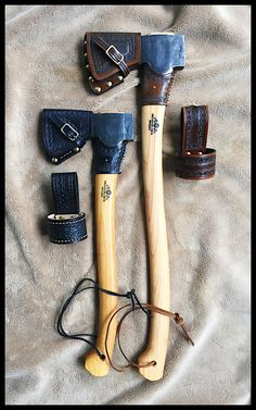 Gransfors Bruks Small Forest Axe & Scandinavian Forest Axe Custom Leather Work by John Black