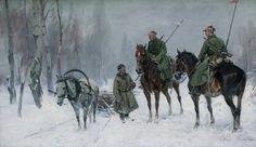 """Czesław Wasilewski (znany również jako Ignacy Zygmuntowicz) 🇵🇱🎨  (1875-1947)   """"Patrol kawalerii polskiej"""""""