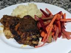 Paprika Baked Chicken, Boiled Lightly Buttered Potatoes and Tangy Carrot, Celery and Beet Slaw.