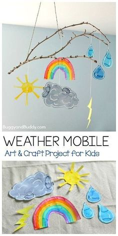 Weather Mobile Craft for Kids Using a Stick- Fun art project for your next weather unit, to hang in your art room, or near your calendar or circle time area! (Can even be done as a collaborative art project!) ~ http://BuggyandBuddy.com