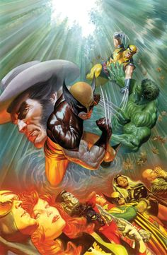 Wolverine, Hulk, X-men Alex Ross Cover in our comic book superhero news forum discussions and original stories. Comic Book Characters, Comic Book Heroes, Marvel Characters, Comic Character, Comic Books Art, Book Art, Ms Marvel, Marvel Comics Art, Marvel Heroes