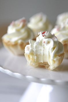 Mini Peppermint Cream White Chocolate Cheesecake Tarts..cute!!