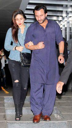 Saif Ali Khan dressed in a traditional purple Pathani suit while Kareena Kapoor Khan sported a blue shirt and ripped jeans, snapped exiting the popular restaurant Hakkasan in Bandra. Kurta Pajama Men, Kurta Men, Mens Sherwani, Salwar Kurta, Designer Clothes For Men, Indian Designer Outfits, Designer Wear, Saif Ali Khan Kurta, Pathani For Men