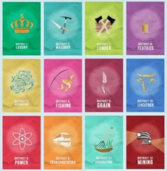 The Hunger Games districts. Yay now i know what each district does!