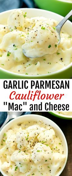 "Garlic Parmesan Cauliflower ""Mac"" and Cheese. A lighter version of mac & cheese using roasted cauliflower instead of macaroni. The cauliflower is coated in a creamy garlic parmesan cheese sauce."
