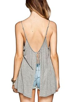Itopfox Womens Low Cut Casual Loose Backless String LaceUp Camisole Tank To ** More info could be found at the image url.Note:It is affiliate link to Amazon.
