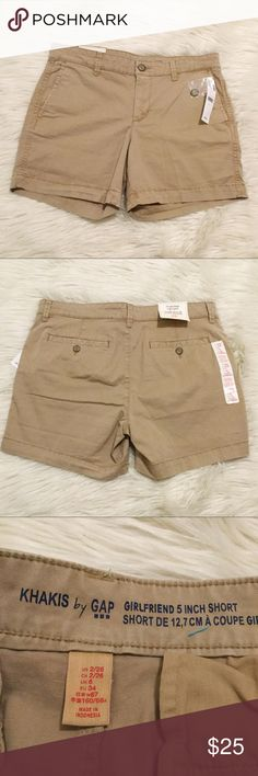 """GAP Girlfriend 5 Inch Short Khaki Shorts Color is called Rolled Oats. All brand new with tags. If you need measurements in a particular size don't hesitate to ask.  Fit & Sizing: Mid rise. Relaxed through the hip and thigh. Inseam: 5"""" Product Details: Soft stretch weave. Button closure, zip fly. Slant pockets at front, rear button welt pockets. Fabric & Care: 98% Cotton, 2% Spandex. Machine wash. Imported. GAP Factory Shorts"""