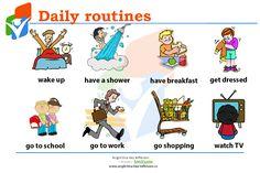 Činnosti, které děláme každý den anglicky. #daily #routines #English #Anglictina #AnglictinaBezBiflovani Have A Shower, Going To Work, Go Shopping, Teaching, Comics, School, Education, Cartoons, Comic