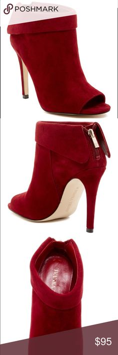 1cd1d750ee2 Ivanka Trump Derri Peep Toe Bootie Smooth suede in a sultry bold hue crafts  a peek-a-boo toe Bootie lifted on a covered stiletto heel. Peep toe.