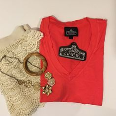 Coral V-Neck Short Sleeve Tee Blouse Top Beautiful coral vneck tee blouse top in brand new with tags condition. No damage. Very chic and stylish! Easy to wear! Size small. Brand: Angie. Angie Tops Tees - Short Sleeve