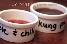 Dry Erase Ramekins - Good idea when entertaining to mark different sauces, jams, toppings, etc.